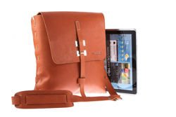 Leather Tech Tablet Messenger Bag VOOC Vintage P3
