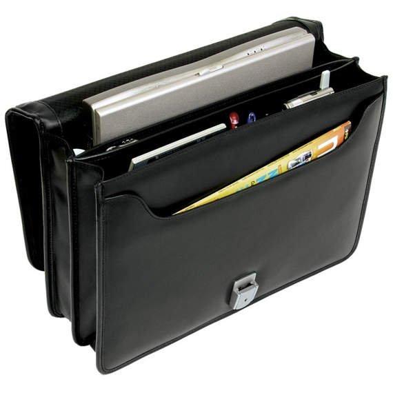 "15.6"" Leather Double Compartment Briefcase Mcklein Bucktown"