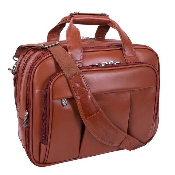 "17"" Leather Detachable-Wheeled Laptop Case Mcklein Damen"