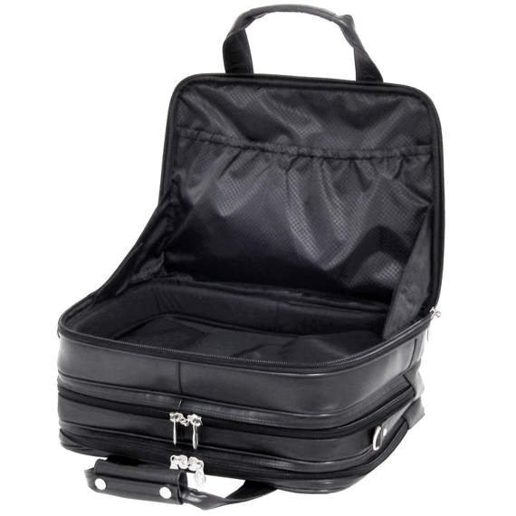 "17"" Leather Detachable-Wheeled Laptop Overnight with Removable Brief Mcklein Chicago"