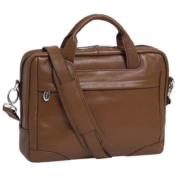 "17"" Leather Large Laptop Brief Mcklein Bridgeport"