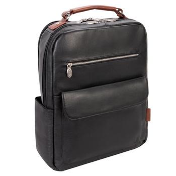 """Czarny plecak Logan ze skóry naturalnej na laptopa 17"""""""