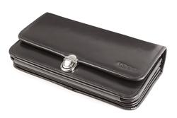 Czarny portfel skórzany damski z rączką, kolor: czarny