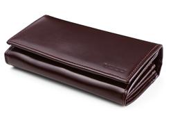 Duży portfel damski skórzany, orientacja pozioma, kolor brązowy