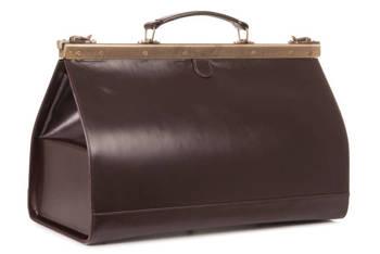 Duży skórzany kufer lekarski, brąz 45 PK6