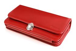 Niecodzienny portfel skórzany damski z rączką w kolorze czerwonym