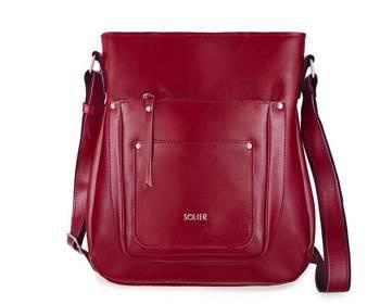 Skórzana torba damska listonoszka Parla FL21 bordowa