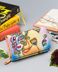 Skórzany portfel damski kolorowy nadruk Rovicky R-N19-ART-13 ORANGE