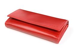 Szykowny i duży portfel damski w kolorze czerwonym