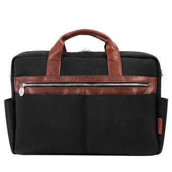 """Torba na laptopa z nylonu balistycznego Southport, kolor czarno-brązowa 17"""""""