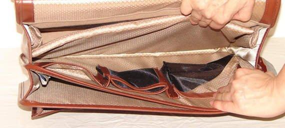 """Brązowa skórzana teczka biznesowa Halsted na laptopa 15,6"""""""