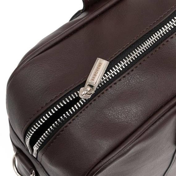 """Ciemnobrązowa skórzana torba na ramię na laptopa 15,6"""" brodrene b01"""