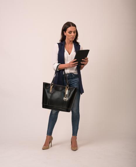 Czarna skórzana aktówka damska ze skóry naturalnej Arya na laptopa