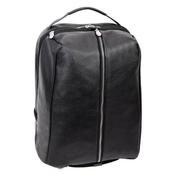 """Czarny plecak podróżny South Shore ze skóry naturalnej na laptopa 17"""""""