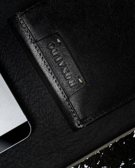Czarny portfel męski, pionowy bez zapięcia, skóra naturalna matowa, Czarny portfel męski, pionowy bez zapięcia