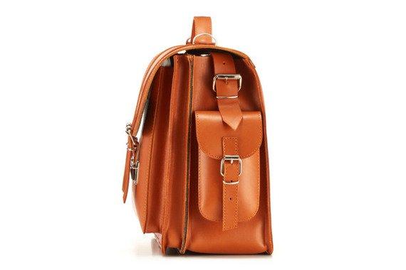 Duży koniakowy plecak, kufer torba skórzanana laptopa Vintage P23