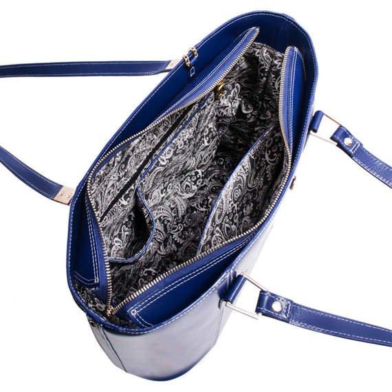 Klasyczna torba ze skóry naturalnej Cristina, granatowa