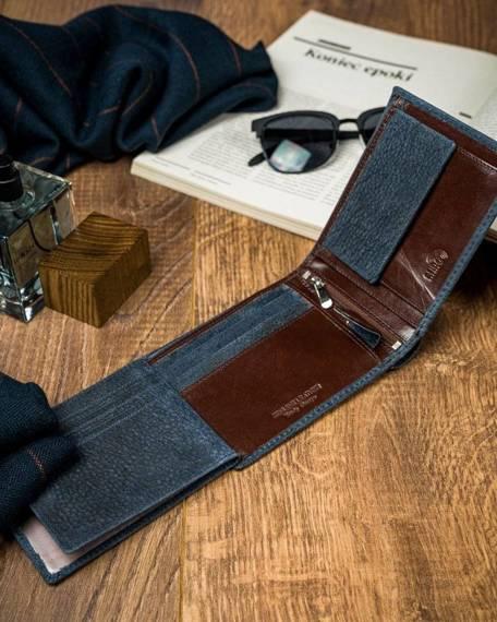Piękny kolorowy portfel męski skórzany Forever Young®