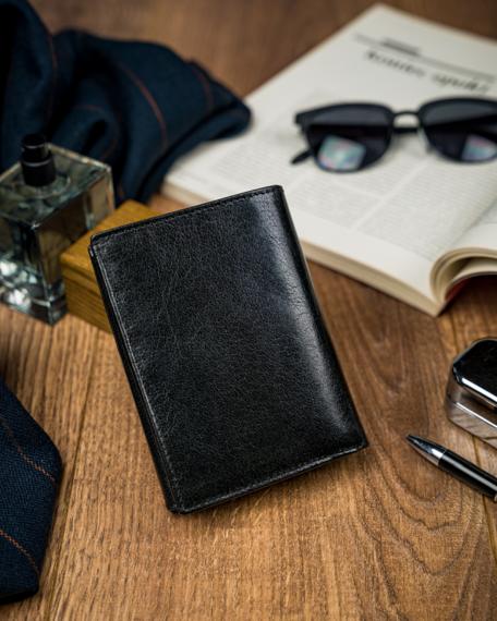 Pionowy portfel męski składany, skóra naturalna, Pierre Andreus