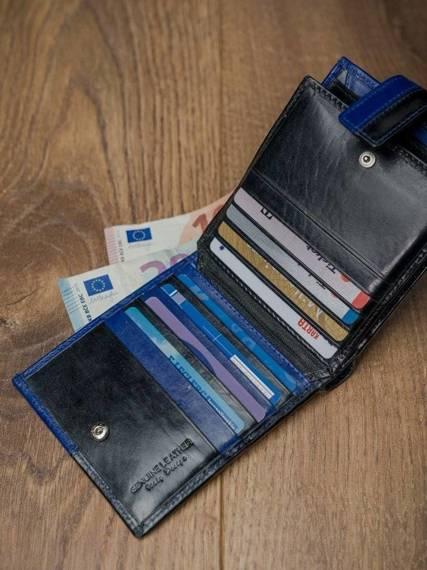 ROVICKY klasyczny portfel męski skórzany RFID stop N01L-VT2 BLACK-BLUE