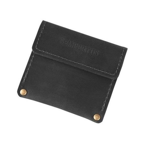Skórzana bilonówka, portfel na drobne Sempertus B-01/CH Czarna