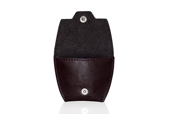Skórzana bilonówka, portfel na monety SOLIER SA10 BORDO