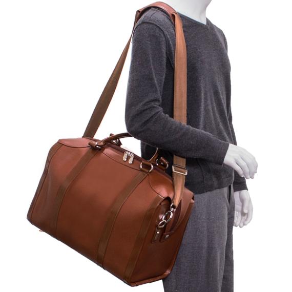 """Skórzana podróżna torba na laptopa 18"""" brązowa Throop"""