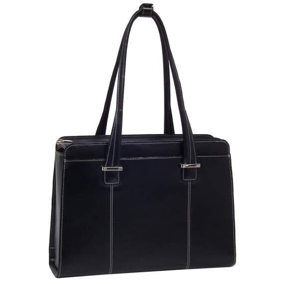 """Skórzana torba damska Alexis kolor czarny, na laptopa 15,6"""""""