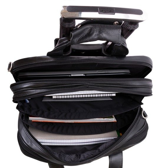 """Skórzana torba podróżna z odpinanym wózkiem, na laptopa Damen 17"""""""