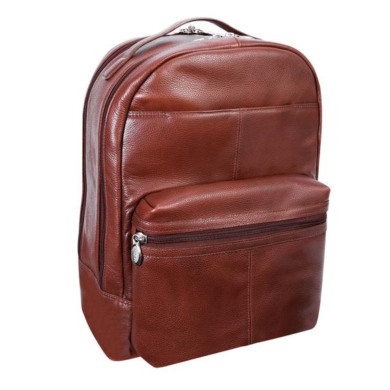 """Skórzany plecak Parker miejski na laptopa 15,6"""" regulowana długość szelek"""
