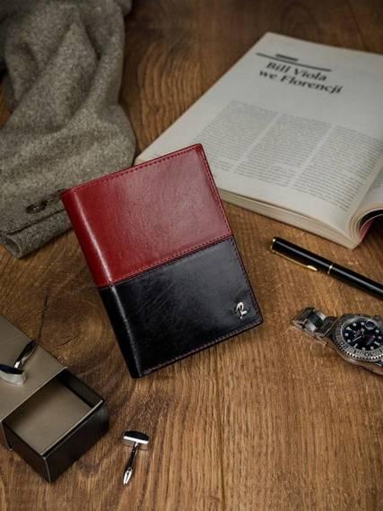 Skórzany portfel męski ROVICKY pionowy ze skóry N4-VT2 BLACK-RED