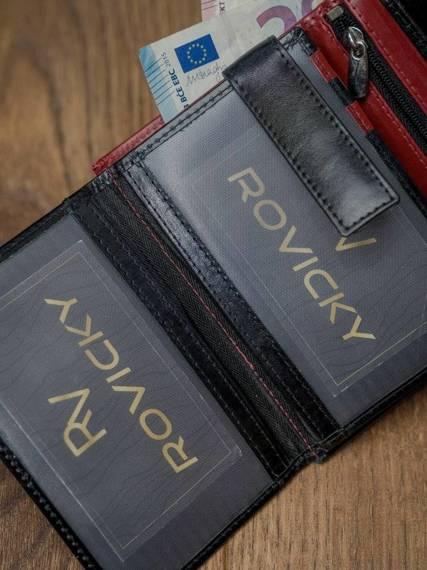 Skórzany portfel pionowy dwukolorowy składany Rovicky czerwono-czarny