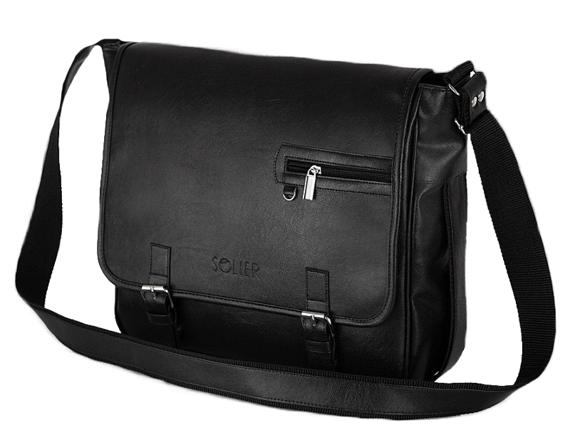 Stylowa Czarna męska torba na ramię casual Solier S12