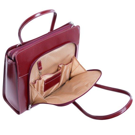 """Torba skórzana dla bizneswoman na laptopa Lake Forest, czerwona 15,6"""""""